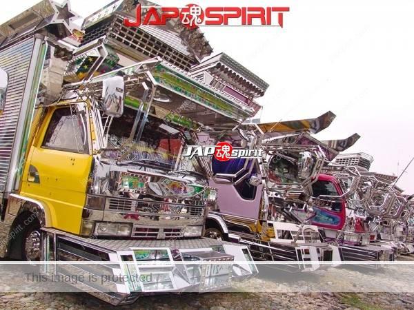 ISUZU Elf, Art truck, yellow cor Boxcar & purple color Dump truck, (3)