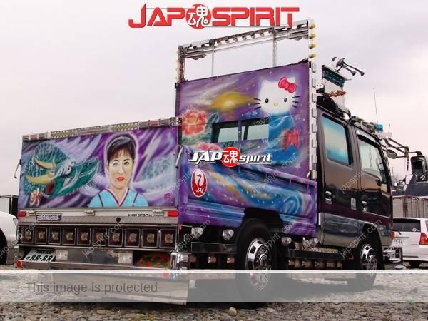 Photo of ISUZU ELF, Wafuku kitty & enka shinger air brush paint Hirabody duble cab, Art truck