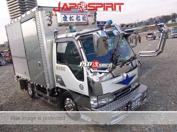 "ISUZU Elf, Art truck style, team ""Yakousendan"". Box car type. (2)"