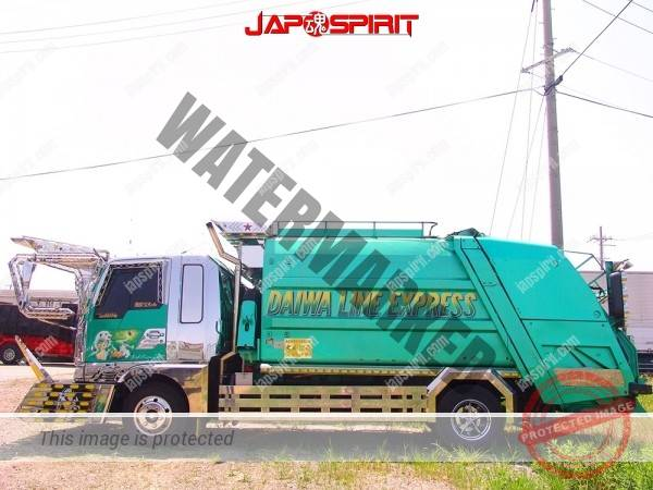 MITSUBISHI FUSO Canter, Art truck style garbage truck, emerald green body color (1)