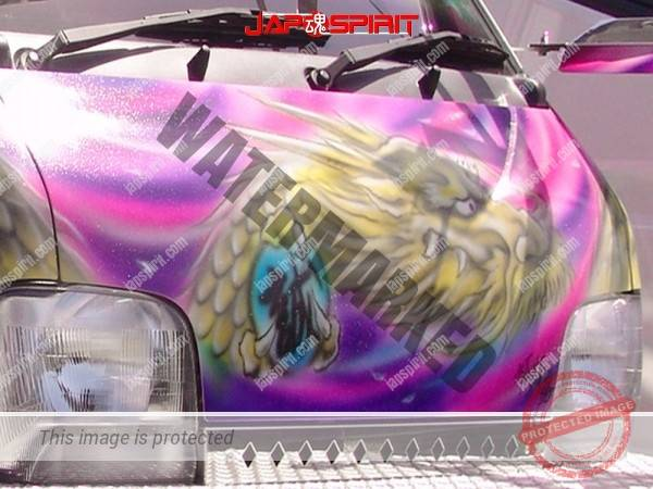 SUZUKI Carry, art truck style mini truck with wind god & dragon air brush paint (1)