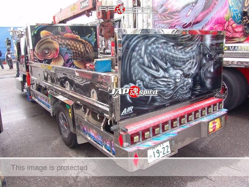 "ISUZU Elf, Art truck style, carp & dragon air brush paint on the back by ""Air brush Hirayama"" (4)"