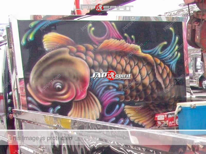 "ISUZU Elf, Art truck style, carp & dragon air brush paint on the back by ""Air brush Hirayama"" (3)"