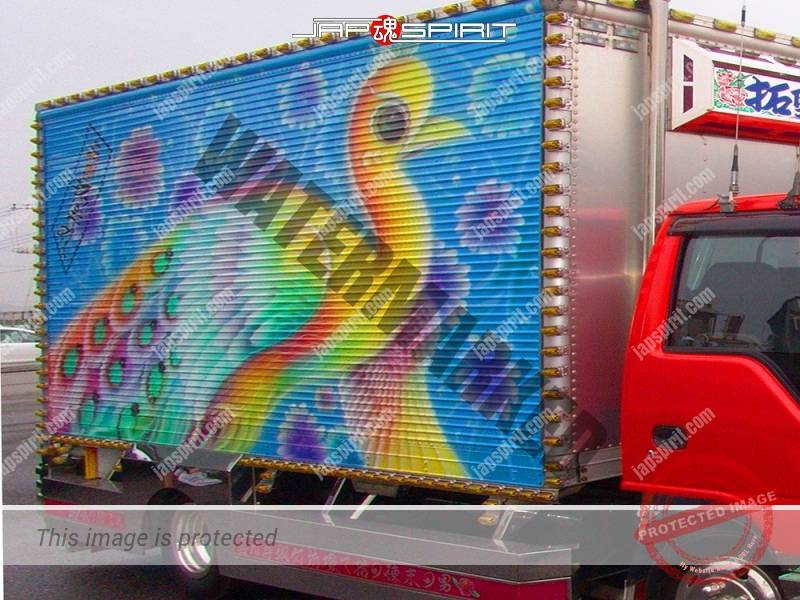 Takumimaru, Isuzu Elf, Art truck with phoenix air brush on the side (1)