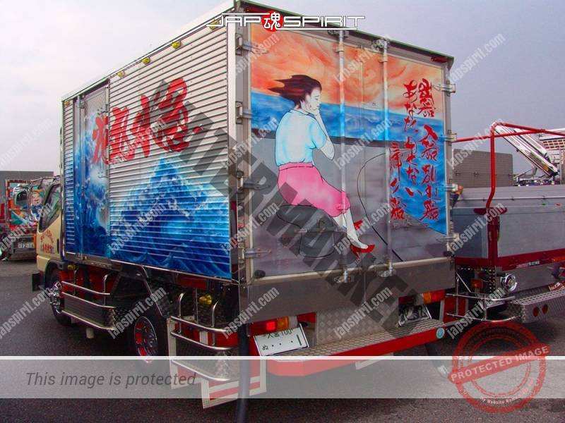 Hanamaru suisan kyukou, FUSO Canter art truck with touchy picture on the back (3)