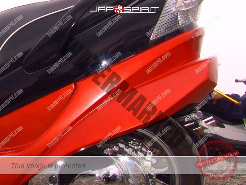 SUZUKI Skywave, black and orange color with front speaker and wide rear wing spoiler (1)