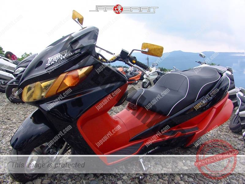 SUZUKI Skywave, black and orange color with front speaker and wide rear wing spoiler (3)