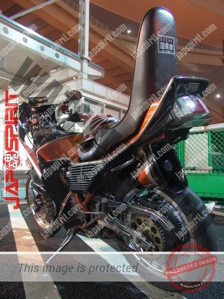 HONDA CBX400F, Zokusha style, Sandan sheet, Black & orange color, Rocket cowl (1)