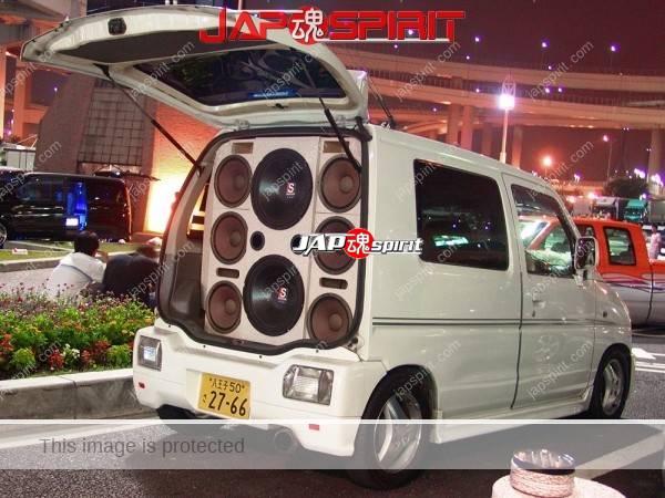 Photo of SUZUKI Wagon R 1st, Sotomuki style sound car, white color with 8 big speaker