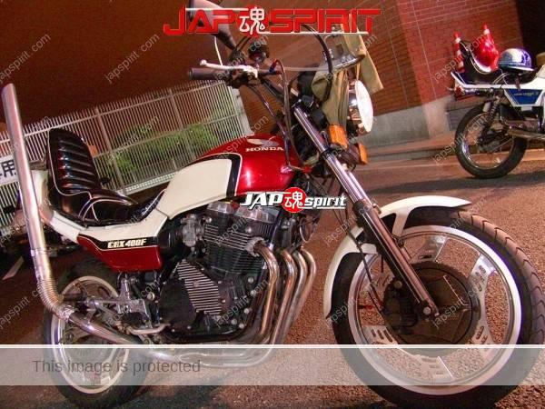 HONDA CBX400F, Zokusha style, white & red color, Takeyari muffler, short sundan sheet & mongolian hood (2)