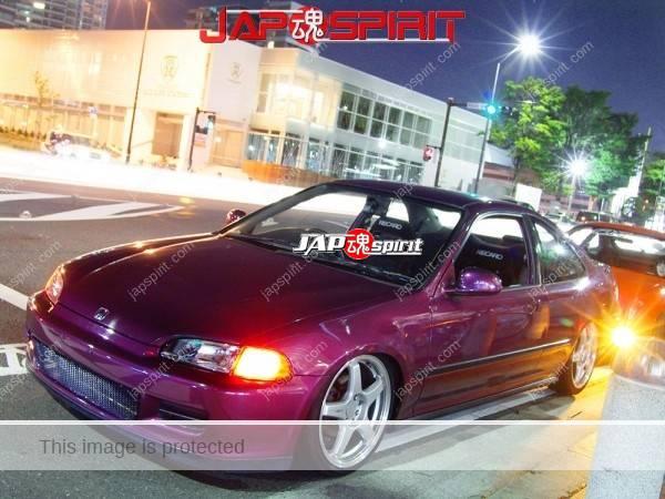 HONDA Civic coupe EJ, USDM style, Purple color at Minatomirai street