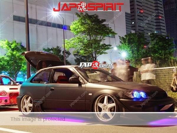 Photo of HONDA Civic EK USDM style & Hashiriya, sporty side spoiler, with purple under neon lighting