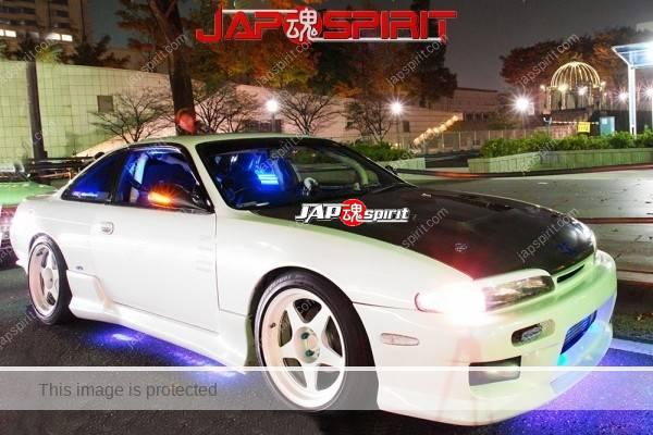 Photo of NISSAN Silvia S14, Supokon style, blue lighting at Minatomirai street
