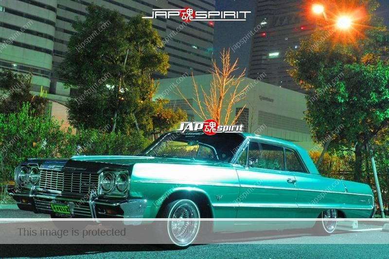 CHEVROLET Impara 64 coupe DarkCyan color lowrider style at night Minatomirai parking