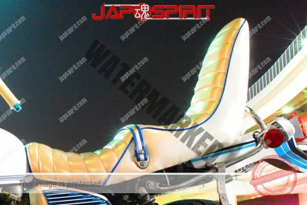 HONDA CB400T (Hawk II), Zokusha style, white & blue line design, Rocket cowl, sandan sheet (1)