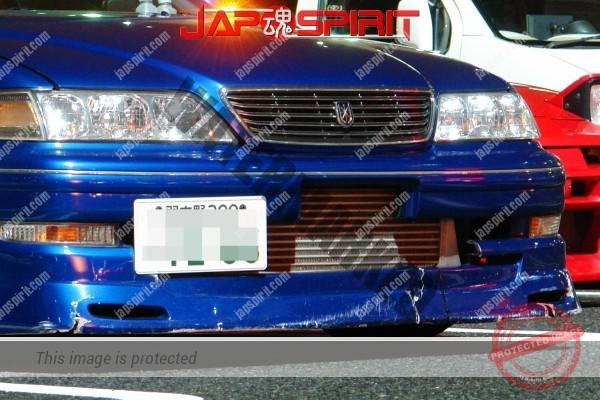 TOYOTA Mark II x100, Basic style street drift car with broken front spoiler, blue color (2)