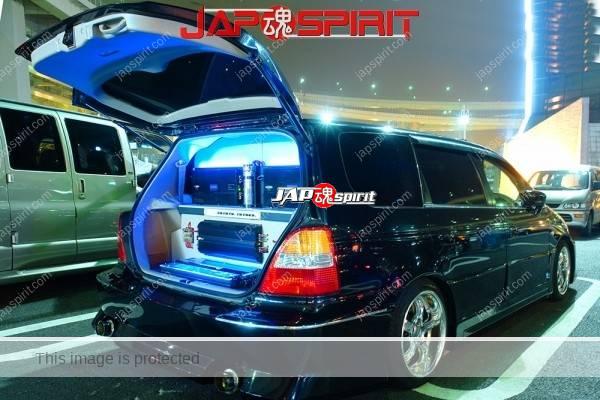 Photo of HONDA Odyssey  RB1/2 Sotomuki style Sound car, blue lighting, amplifier layout