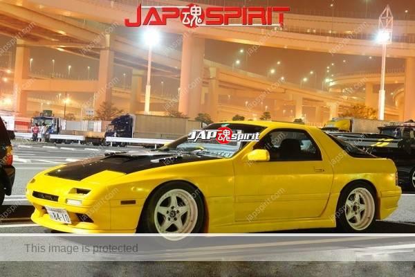 Photo of MAZDA RX7 FC, Spokon style, yellow, white wheel, black bonnet