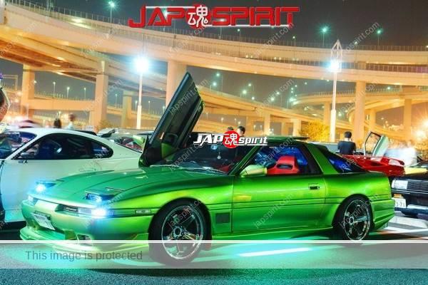 Photo of TOYOTA Supra Mark 3rd A70, Scissor door, beautiful green lighting & metallic green color, spokon style