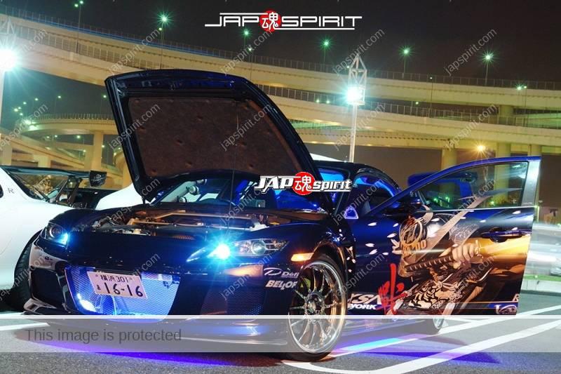 MAZDA RX8, Samurai worrior vinylgrahic with xsa wheel and blue lighting (2)