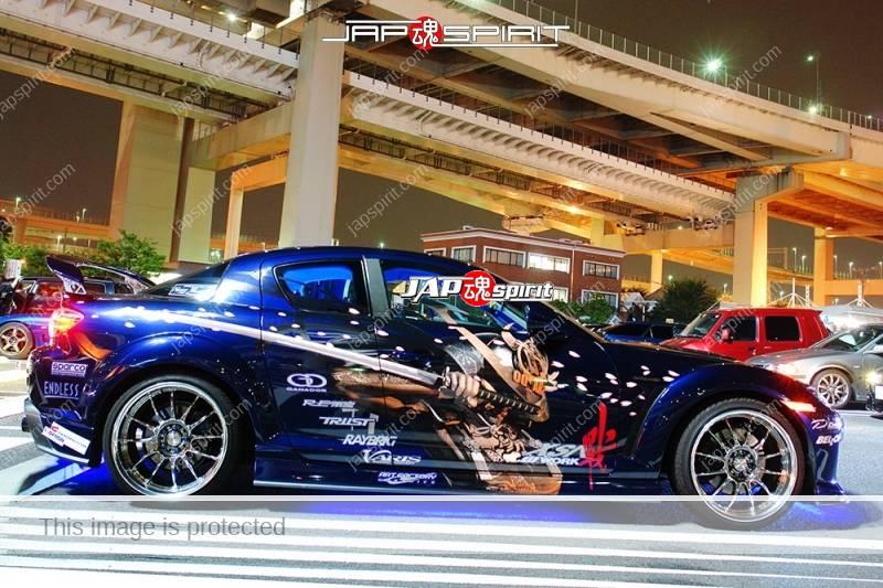 MAZDA RX8, Samurai worrior vinylgrahic with xsa wheel and blue lighting (7)