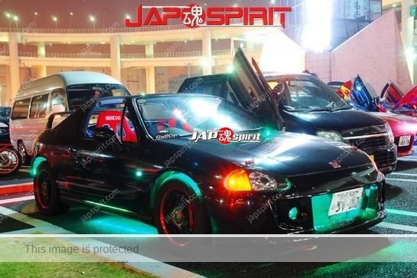 Photo of HONDA  Civic del Sol  (CRX del Sol) Spokon style, green lighting, black color