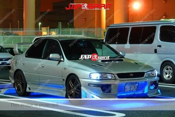 SUBARU Impreza, Supokon style, blue lighting, silver body