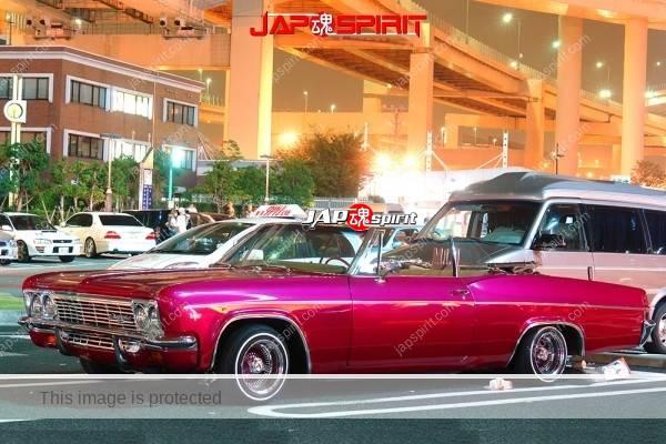 Photo of Chevrolet Impala convertible, Low rider style, deep pink body @ daikoku parking