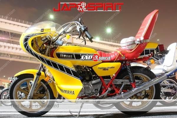 YAMAHA RD400, Zokusha style, Yellow color Rocket cowl, Red sandan sheet, Rising sun & mt.fuji korukuhan helmet (5)