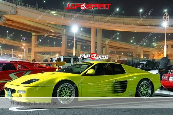 Photo of Ferrari Testarossa, yellow color at mid night Daikoku PA
