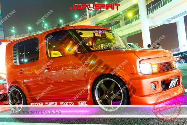 Nissan Cube 2nd Z11, dress up style, orange color and purple under lighting