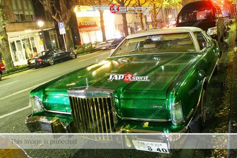 Lincoln Continental Mark IV lowrider style metallic green at Minatomirai street (2)