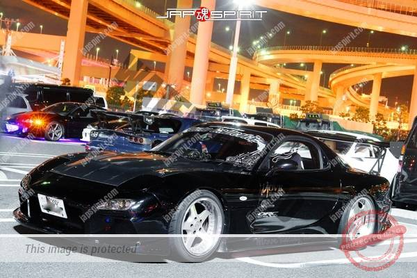 Photo of MAZDA RX7 FD, Drift style black car, nice window sticker, GT wing, by Auto gallaria