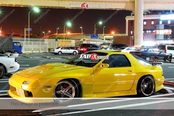 MAZDA RX7 FC, Spokon style, aero bonnet, yellow color (3)