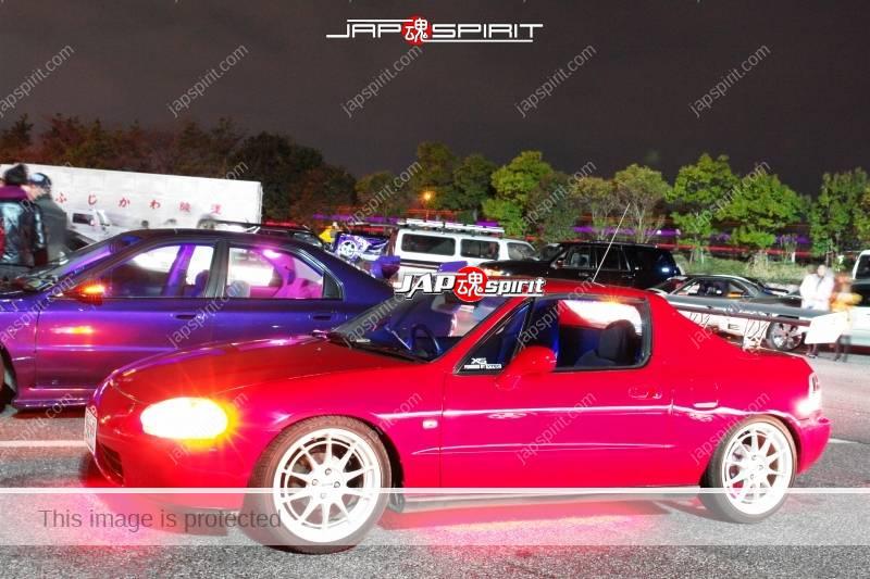 HONDA Civic Del sol (CR-X), Spokon style red color at Moriya PA