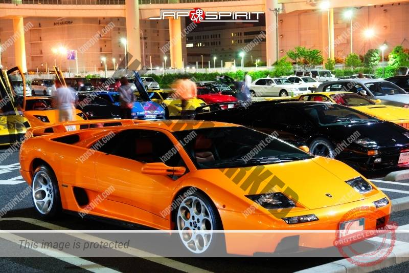 LAMBORGHINI Diablo super car orange color at Daikoku PA