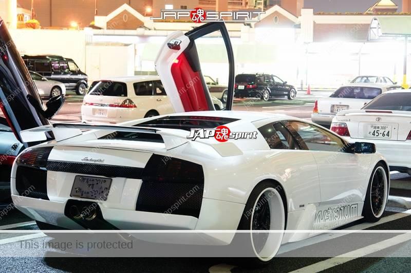 Lamborghini Murcielago Super car white color white rim wheel at Daikoku PA (2)
