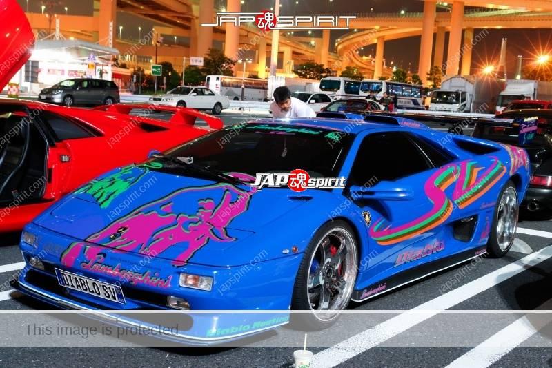 Lamborghini Diablo Super car three blue color cars. Bull picture on bonnet (1)
