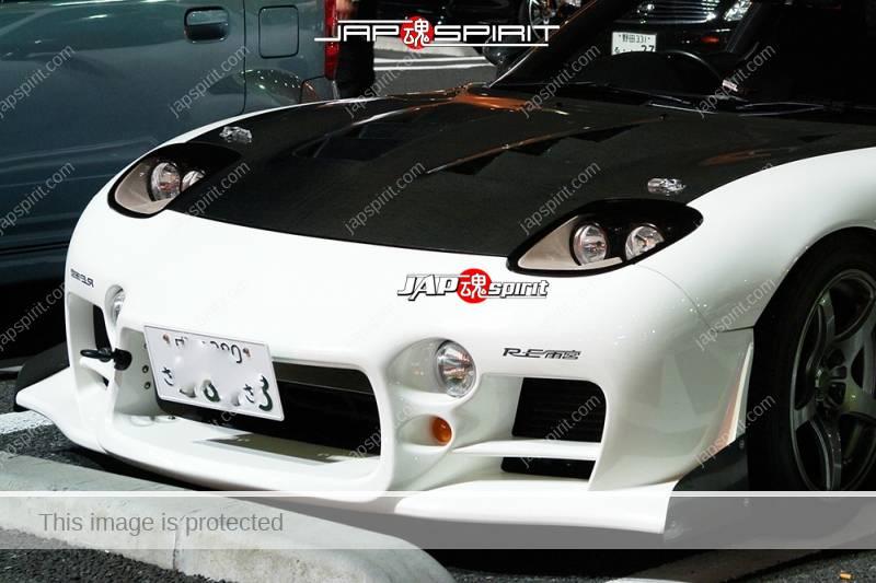 MAZDA RX7 FD Spokon style white and carbon bonnet RE Amemiya aero (2)