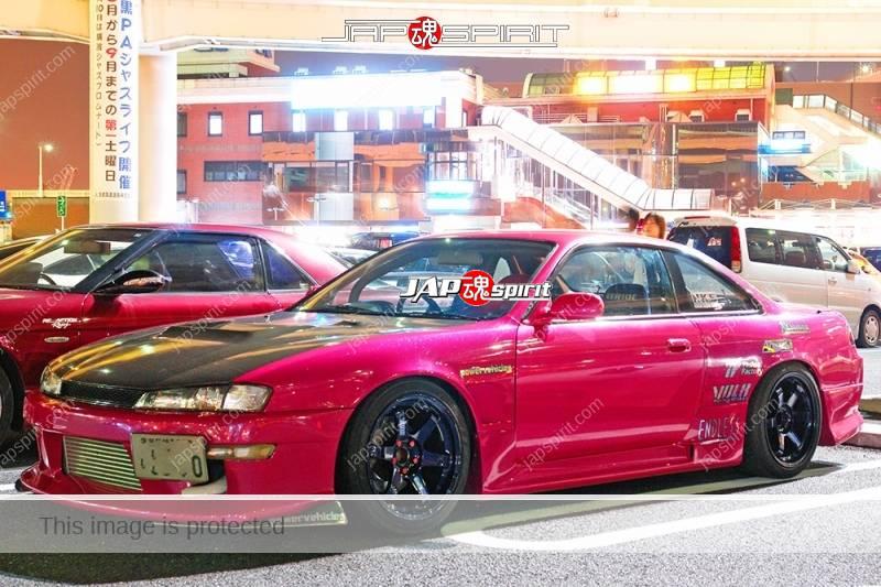 NISSAN Silvia S14 street drift style pink color black bonnet (2)
