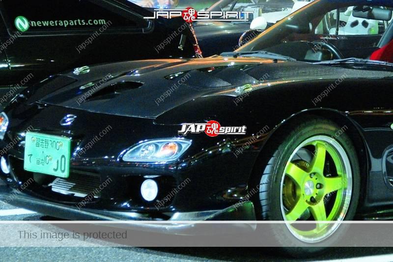 MAZDA RX7 FD Spokon style black color wingless and carbon bonnet (1)