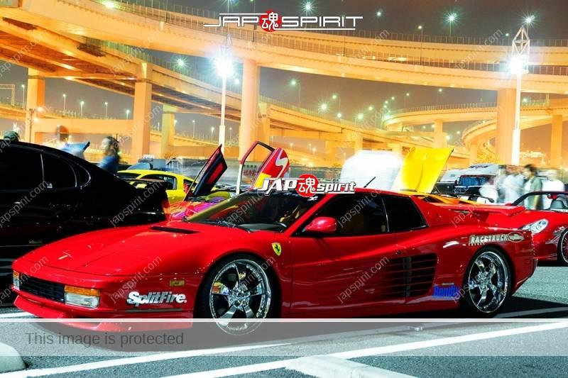 Ferrari Testarossa Super car red color with GT wing at Daikoku PA (2)