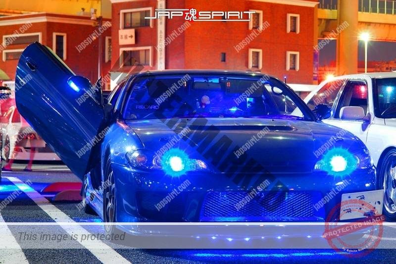 NISSAN Silvia S14 Spokon style blue color blue lighting scissors door at Daikoku PA (1)