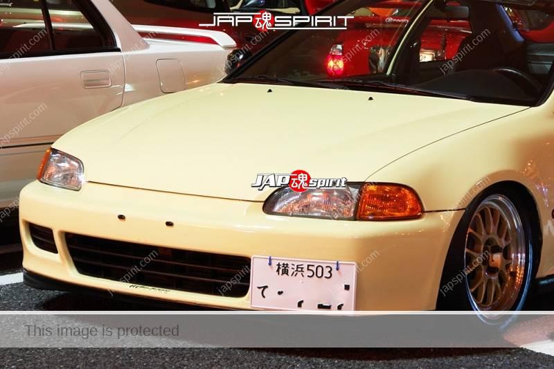HONDA Civic 5th EJ Coupe USDM style cream color simple bonnet line is nice (1)