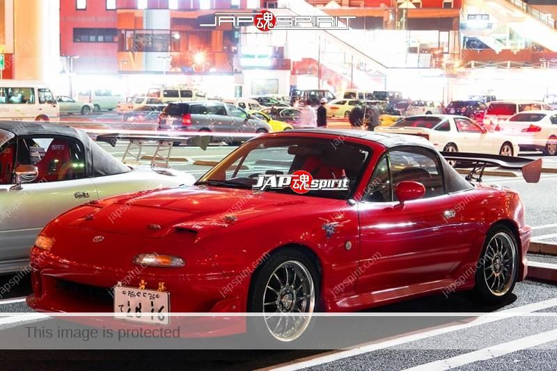 MAZDA ROADSTER 2ND (MX-5 Miata) spokon style red color custom bonnet and nice spoiler (2)