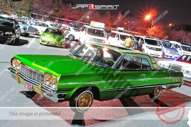 Photo of Chevrolet Impala SS hard top lowrider style Green color golden wheel at Moriya PA