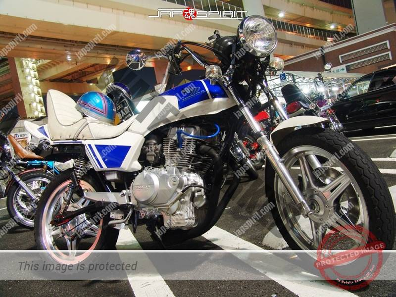 HONDA CB400N hawk ⅢKyushakai Daikoku PA white & blue color short Sandan sheet 1