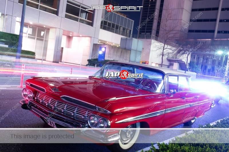 CHEVROLET  1959 Impala 4-Door Sedan red color at Minatomirai 1