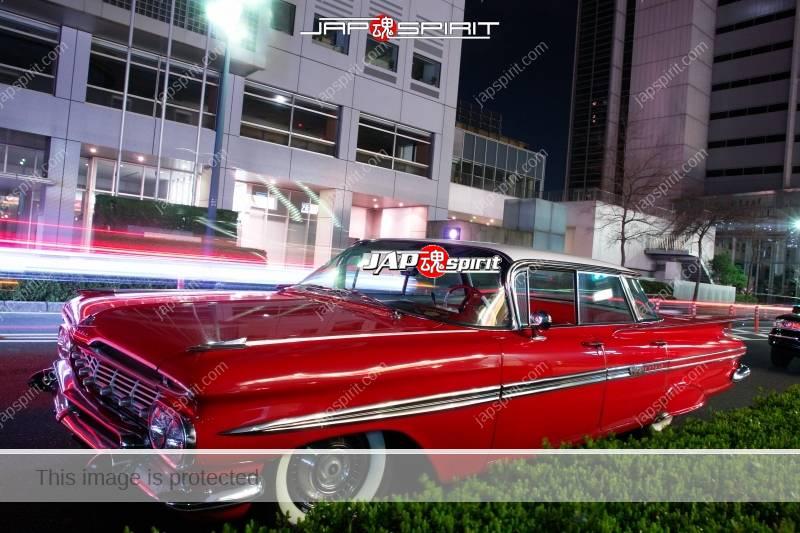 Photo of CHEVROLET  1959 Impala 4-Door Sedan red color at Minatomirai