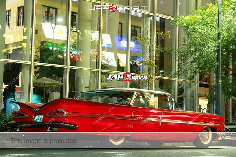 Chevorlet Imapala 1959 hardtop sedan lowrider red color at Minatomirai 1